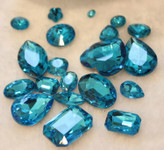 Lake Blue  --- 10 pcs Mixed Shapes lot Cut Back Crystal Glass Gems  ---- lovekittybling