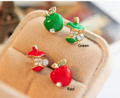 Sale !!!!  Red Apple --- 1 Pair Stud Earring --- Fashion Jewelry