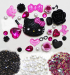 DIY 3D Blinged Hello Kitty Resin Flatback Kawaii Cabochons Cell Phone Deco Kit Z408 --- by lovekitty