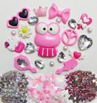 DIY 3D Pink Frog Bling Resin Flat back Kawaii Cabochons Deco Kit Z410 -- lovekittybling