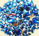 100 pcs --- Sew-On Gems -- Sky Blue -- Mixed Shapes Flat Back Gems ( Mixed Sizes has thread holes ) ---- by lovekitty