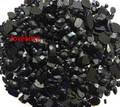 350 pcs lot  ---  Sew-On Gems ---Black Mixed Shapes Flat Back Gems ( Mixed sizes 3mm -- 40mm  has thread holes ) ---- lovekittybling