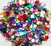 350 pcs lot  ---  Sew-On Gems --- Mixed Colors Mixed Shapes Flat Back Gems ( Mixed sizes 3mm -- 40mm  has thread holes ) ---- lovekittybling