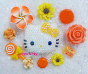 DIY Blinged Out AB Jelly Hello Kitty Phone Case Resin Cabochons Deco Kit Z421 --- lovekitty