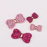 2 Pieces Fuchsia Bows ---  Rhinstones bling bling deco piece -- by lovekitty