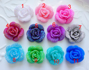 1 pc AB Jelly Rhinestones Blinged out Rose Flower Kawaii FlatBack Resin Cabochons