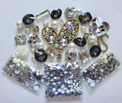 DIY 3D Heart Crystal Black Glass Gems Bling Bling  Deco Kit Z426 -- lovekittybling
