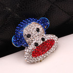 1 pc Blue Red  Monkey Rhinstones bling bling Alloy deco piece -- by lovekitty