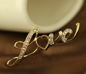 1 pc LOVE Word Rhinstones bling bling Alloy deco piece -- by lovekitty