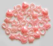 30 Pcs Mixed Pink Mixed Flatback Pearl Cabochon-- Lovekitty