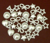 30 Pcs Mixed White  Flatback Pearl Cabochon-- Lovekitty