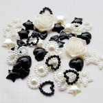 30 Pcs Mixed Cream & Black Mixed Flatback Pearl Cabochon-- Lovekitty