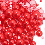 800 pieces Red Mixed Sizes Flatback Pearl Cabochons -- lovekittybling