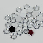 Clear - 8mm - 50 pcs  Resin Flatback Flower Shape Gems -- by lovekitty