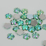 AB Light Green - 8mm - 50 pcs  Resin Flatback Flower Shape Gems -- by lovekitty