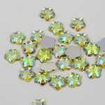 AB Light Yellow - 8mm - 50 pcs  Resin Flatback Flower Shape Gems -- by lovekitty