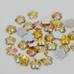 AB Gold - 8mm - 50 pcs  Resin Flatback Flower Shape Gems -- by lovekitty