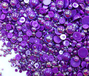 600 pieces AB Dark Purple Mixed Sizes Flatback Pearl Cabochons -- by lovekitty