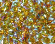50 pcs - Sew-On Gems --  AB Gold -- Mixed Shapes Flat Back Gems ( Mixed Sizes has thread holes ) ---- lovekitty