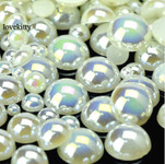 600 pieces AB Cream Mixed Sizes Flatback Pearl Cabochons -- by lovekitty
