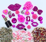 DIY 3D Fuchisa Lips Bling Bling Alloy Kawaii Cabochons Cell Phone Case Deco Kit / Set Z443--- lovekitty