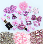 DIY 3D Pink Lips Bling Bling Alloy Kawaii Cabochons Cell Phone Case Deco Kit / Set Z445 --- lovekitty