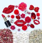 DIY 3D Red Lips Bling Bling Alloy Kawaii Cabochons Cell Phone Case Deco Kit / Set Z445 --- lovekitty