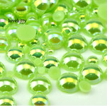 600 pieces AB Green Mixed Sizes Flatback Pearl Cabochons -- by lovekitty