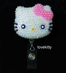 AB Jelly Pink Bow -- Blinged Out Hello Kitty Retractable ID Badge Holder /  Name Badges / ID Badge Reel ( 100% Handcrafted ) ----  lovekitty