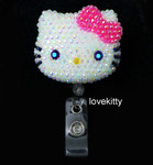 AB Jelly Hot Pink Bow -- Blinged Out Hello Kitty Retractable ID Badge Holder /  Name Badges / ID Badge Reel ( 100% Handcrafted ) ----  lovekitty