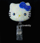 AB Jelly Dark Blue Bow -- Blinged Out Hello Kitty Retractable ID Badge Holder /  Name Badges / ID Badge Reel ( 100% Handcrafted ) ----  lovekitty