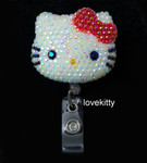 AB Jelly Red Bow -- Blinged Out Hello Kitty Retractable ID Badge Holder /  Name Badges / ID Badge Reel ( 100% Handcrafted ) ----  lovekitty
