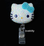 AB Jelly Lake Blue Bow -- Blinged Out Hello Kitty Retractable ID Badge Holder /  Name Badges / ID Badge Reel ( 100% Handcrafted ) ----  lovekitty