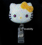 AB Jelly Orange Bow -- Blinged Out Hello Kitty Retractable ID Badge Holder /  Name Badges / ID Badge Reel ( 100% Handcrafted ) ----  lovekitty
