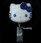 AB Jelly Black Bow -- Blinged Out Hello Kitty Retractable ID Badge Holder /  Name Badges / ID Badge Reel ( 100% Handcrafted ) ----  lovekitty