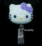 AB Jelly Lavender Bow -- Blinged Out Hello Kitty Retractable ID Badge Holder /  Name Badges / ID Badge Reel ( 100% Handcrafted ) ----  lovekitty