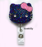 AB Jelly Black Face Pink Bow -- Blinged Out Hello Kitty Retractable ID Badge Holder /  Name Badges / ID Badge Reel ( 100% Handcrafted ) ----  lovekitty
