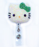 AB Jelly Dark Green Bow -- Blinged Out Hello Kitty Retractable ID Badge Holder /  Name Badges / ID Badge Reel ( 100% Handcrafted ) ----  lovekitty