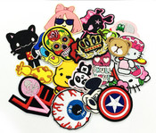 20 pieces wholesale lot Assorted Sew or iron on embroidered patches applique -- by lovekitty