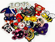 20 pieces wholesale lot Assorted Sew or iron on embroidered patches appliques -- by lovekitty