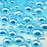 600 pieces AB Lake Blue Mixed Sizes Flatback Pearl Cabochons -- by lovekitty
