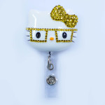 Yellow Bow -- Blinged Out Nerd Kitty Hello Kitty Retractable ID Badge Holder /  Name Badges / ID Badge Reel ( 100% Handcrafted ) ----  lovekitty
