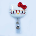 Red Bow -- Blinged Out Nerd Kitty Hello Kitty Retractable ID Badge Holder /  Name Badges / ID Badge Reel ( 100% Handcrafted ) ----  lovekitty