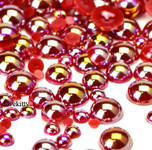 600 pieces AB Red Mixed Sizes Flatback Pearl Cabochons -- by lovekitty