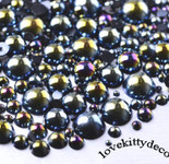 600 pieces AB Black Mixed Sizes Flatback Pearl Cabochons -- by lovekitty