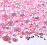 600 pieces AB Pink Mixed Sizes Flatback Pearl Cabochons -- by lovekitty