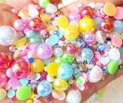 600 pieces AB Mixed Colors Mixed Sizes Flatback Pearl Cabochons -- by lovekitty