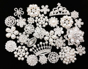 10 Mixed Lot Flat Back Button Crystal Pearl Rhinestone Embellishment Button - Brooch Bouquet Wedding Jewelry Hair bows Cake Decoration -- by lovekitty