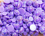 600 pieces AB Pruple Mixed Sizes Flatback Pearl Cabochons -- by lovekitty