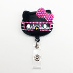 Black Face Hot Pink Bow -- Blinged Out Nerd Kitty Hello Kitty Alligator Swivel Clip Retractable ID Badge Holder /  Name Badges / ID Badge Reel ( 100% Handcrafted ) ----  lovekitty